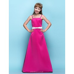 Floor-length Satin Junior Bridesmaid Dress - Fuchsia A-line Spaghetti Straps