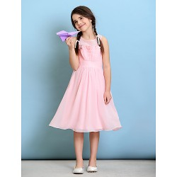 Knee-length Chiffon Junior Bridesmaid Dress - Blushing Pink A-line Jewel