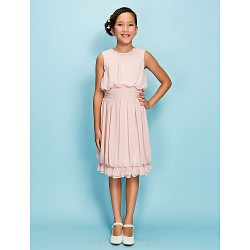 Knee-length Chiffon Junior Bridesmaid Dress - Pearl Pink Sheath/Column Jewel