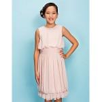 Knee-length Chiffon Junior Bridesmaid Dress - Pearl Pink Sheath/Column Jewel Junior Bridesmaid Dresses