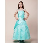 Floor-length Satin / Organza Junior Bridesmaid Dress Ball Gown Spaghetti Straps Junior Bridesmaid Dresses