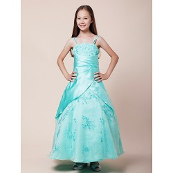 Floor Length Satin Organza Junior Bridesmaid Dress Ball Gown Spaghetti Straps