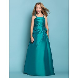 Floor Length Taffeta Junior Bridesmaid Dress Jade A Line Princess Spaghetti Straps