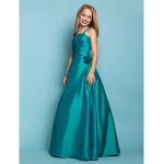 Floor-length Taffeta Junior Bridesmaid Dress - Jade A-line / Princess Spaghetti Straps Junior Bridesmaid Dresses