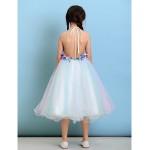 Knee-length Tulle Junior Bridesmaid Dress - Multi-color Ball Gown Halter Junior Bridesmaid Dresses