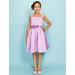 Knee-length Satin Junior Bridesmaid Dress - Lilac Ball Gown / Princess Spaghetti Straps