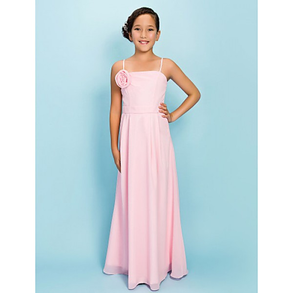 Floor-length Chiffon Junior Bridesmaid Dress - Blushing Pink Sheath/Column Spaghetti Straps Junior Bridesmaid Dresses