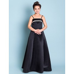 Floor Length Satin Junior Bridesmaid Dress Black A Line Princess Spaghetti Straps