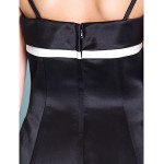 Floor-length Satin Junior Bridesmaid Dress - Black A-line / Princess Spaghetti Straps Junior Bridesmaid Dresses