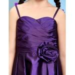 Knee-length Taffeta Junior Bridesmaid Dress - Grape A-line / Princess Spaghetti Straps Junior Bridesmaid Dresses