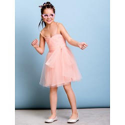 Knee Length Tulle Junior Bridesmaid Dress Pearl Pink A Line Spaghetti Straps