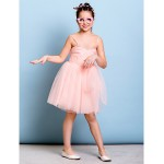 Knee-length Tulle Junior Bridesmaid Dress - Pearl Pink A-line Spaghetti Straps Junior Bridesmaid Dresses