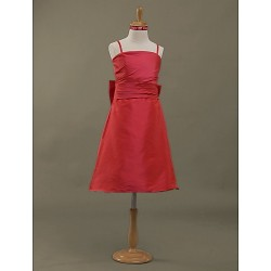 Knee-length Taffeta Junior Bridesmaid Dress - Ruby A-line / Princess Spaghetti Straps