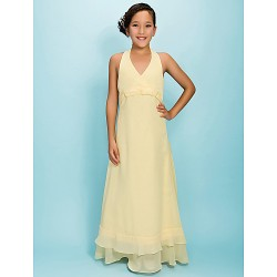 Floor Length Chiffon Junior Bridesmaid Dress Daffodil A Line Princess Halter V Neck