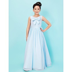 Floor Length Chiffon Stretch Satin Junior Bridesmaid Dress Sky Blue A Line Princess Scoop