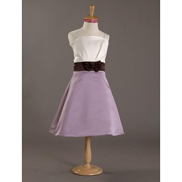 Knee-length Satin Junior Bridesmaid Dress A-line / Princess Straps Junior Bridesmaid Dresses