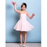 Knee-length Chiffon Junior Bridesmaid Dress - Blushing Pink A-line Spaghetti Straps Junior Bridesmaid Dresses
