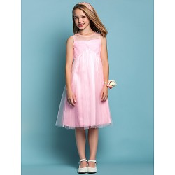 Knee Length Tulle Junior Bridesmaid Dress Candy Pink Sheath Column A Line Jewel