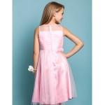Knee-length Tulle Junior Bridesmaid Dress - Candy Pink Sheath/Column / A-line Jewel Junior Bridesmaid Dresses
