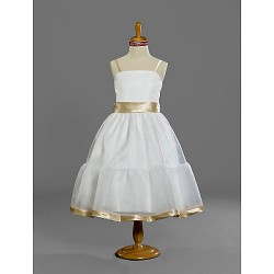 Tea-length Satin / Tulle Junior Bridesmaid Dress - White A-line / Princess Spaghetti Straps