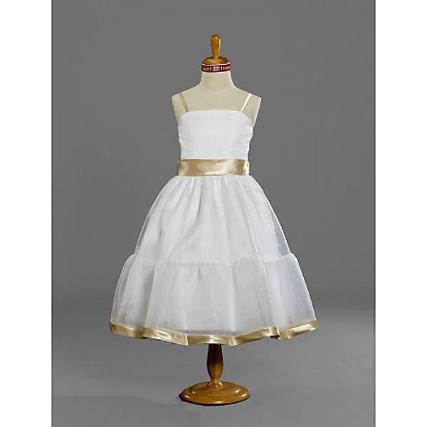 Tea-length Satin / Tulle Junior Bridesmaid Dress - White A-line / Princess Spaghetti Straps Junior Bridesmaid Dresses