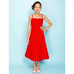 Tea Length Chiffon Junior Bridesmaid Dress Ruby A Line Princess Spaghetti Straps