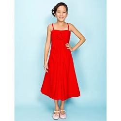 Tea-length Chiffon Junior Bridesmaid Dress - Ruby A-line / Princess Spaghetti Straps
