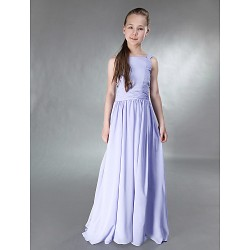 Floor-length Chiffon / Stretch Satin Junior Bridesmaid Dress - Lavender A-line / Princess Straps / Square