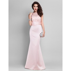 Prom / Military Ball / Formal Evening Dress - Pearl Pink Plus Sizes / Petite Trumpet/Mermaid Jewel Floor-length Satin / Lace