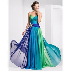 Prom Military Ball Formal Evening Dress Blue Green Ombre Plus Sizes Petite A Line Strapless Sweetheart Floor Length Chiffon