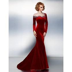 Formal Evening Dress - Burgundy Plus Sizes / Petite Trumpet/Mermaid Jewel Court Train Velvet