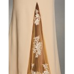 TS Couture Formal Evening Dress - Champagne Trumpet/Mermaid V-neck Sweep/Brush Train Lace / Jersey Special Occasion Dresses