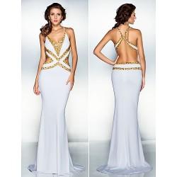 Formal Evening Dress - White Plus Sizes / Petite Trumpet/Mermaid V-neck Sweep/Brush Train Jersey