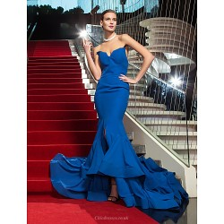 Military Ball Formal Evening Dress Royal Blue Plus Sizes Petite Trumpet Mermaid Strapless Sweep Brush Train Chiffon