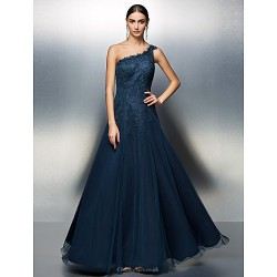 Prom Formal Evening Dress Dark Navy Plus Sizes Petite A Line One Shoulder Floor Length Tulle