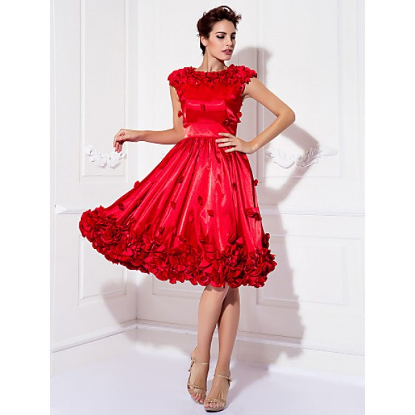 TS Couture Cocktail Party / Prom Dress - Ruby Plus Sizes / Petite A-line Jewel Knee-length Stretch Satin Special Occasion Dresses