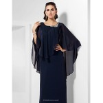 TS Couture Formal Evening / Military Ball / Wedding Party Dress - Dark Navy Plus Sizes / Petite Sheath/Column Scoop Floor-length Chiffon Special Occasion Dresses