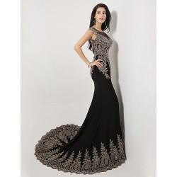 Formal Evening Dress - Black Plus Sizes / Petite Trumpet/Mermaid Scoop Sweep/Brush Train Spandex