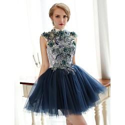 Cocktail Party Dress Ink Blue Plus Sizes A Line High Neck Short Mini Lace Tulle