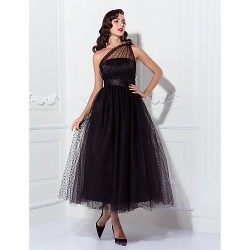 Prom Formal Evening Wedding Party Dress Black Plus Sizes Petite A Line Princess One Shoulder Ankle Length Tulle