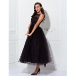 TS Couture Prom / Formal Evening / Wedding Party Dress - Black Plus Sizes / Petite A-line / Princess One Shoulder Ankle-length Tulle Special Occasion Dresses