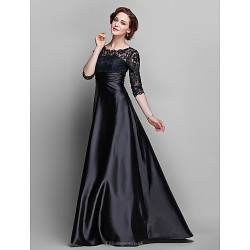 A Line Plus Sizes Petite Mother Of The Bride Dress Black Sweep Brush Train Half Sleeve Lace Stretch Satin