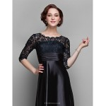 A-line Plus Sizes / Petite Mother of the Bride Dress - Black Sweep/Brush Train Half Sleeve Lace / Stretch Satin Mother Of The Bride Dresses