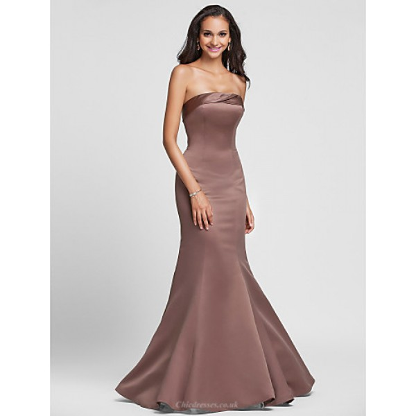 Floor-length Satin Bridesmaid Dress - Ruby / Royal Blue / Brown / Champagne / Regency Plus Sizes / Petite Trumpet/Mermaid Strapless Special Occasion Dresses