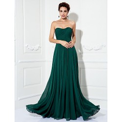 Formal Evening Prom Military Ball Dress Dark Green Plus Sizes Petite A Line Princess Strapless Sweep Brush Train Chiffon