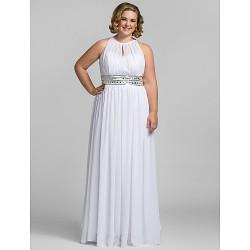 Formal Evening / Prom / Military Ball Dress - White Plus Sizes / Petite Sheath/Column High Neck Floor-length Chiffon