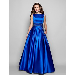 Formal Evening Prom Military Ball Dress Royal Blue Plus Sizes Petite Ball Gown A Line Bateau Floor Length Satin