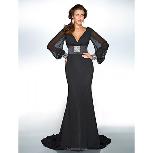 TS Couture Formal Evening / Military Ball Dress - Black Plus Sizes / Petite Trumpet/Mermaid V-neck Sweep/Brush Train Chiffon Special Occasion Dresses
