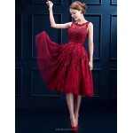 Cocktail Party Dress - Burgundy A-line Scoop Tea-length Lace Special Occasion Dresses