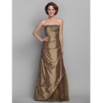 A-line Plus Sizes / Petite Mother of the Bride Dress - Brown Floor-length Half Sleeve Taffeta / Lace Mother Of The Bride Dresses